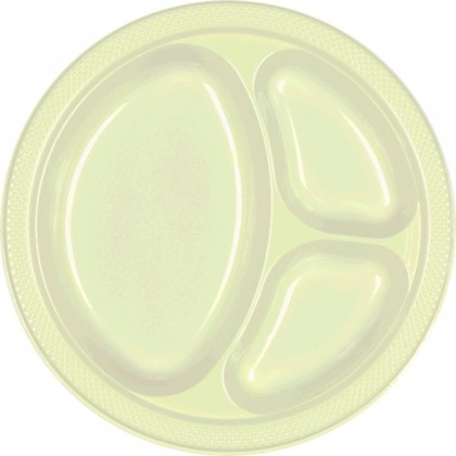 """Leaf Green Festive Occasion® Plastic Tableware Divded Plate, 10 1/4"""""""