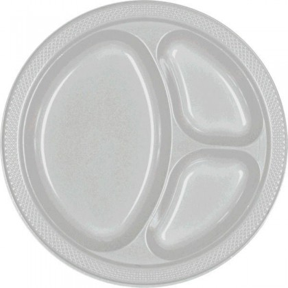 """Silver Festive Occasion® Plastic Tableware Divded Plate, 10 1/4"""""""