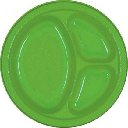 "Kiwi Festive Occasion® Plastic Tableware Divded Plate, 10 1/4"""