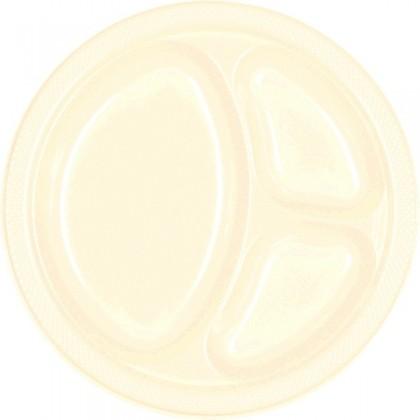 "Vanilla Creme Festive Occasion® Plastic Tableware Divded Plate, 10 1/4"""