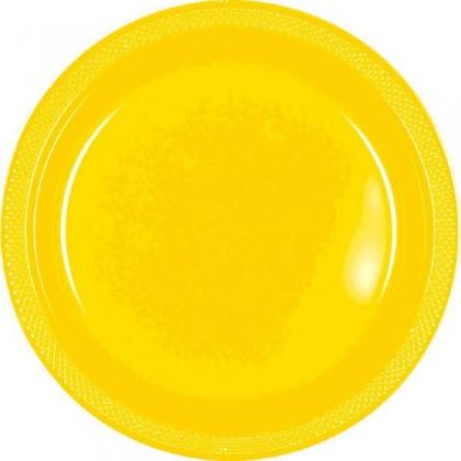 "Yellow Sunshine Festive Occasion® Plastic Tableware Plate, 7"""