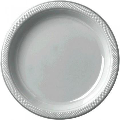 """Silver Festive Occasion® Plastic Tableware Plate, 7"""""""