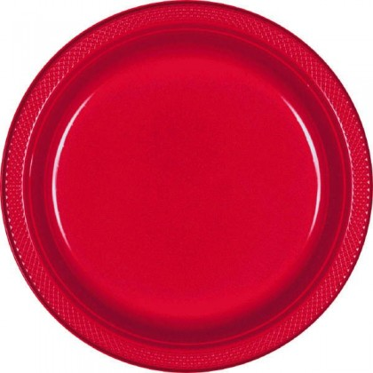 """Apple Red Festive Occasion® Plastic Tableware Plate, 7"""""""