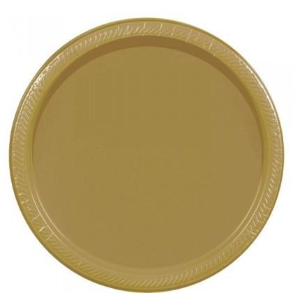 "Gold Festive Occasion® Plastic Tableware Plate, 9"""