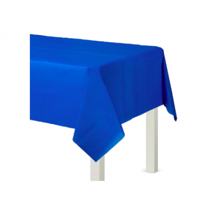 "54"" x 108"" Plastic Solid Rectangular TableCover - Bright Royal Blue"