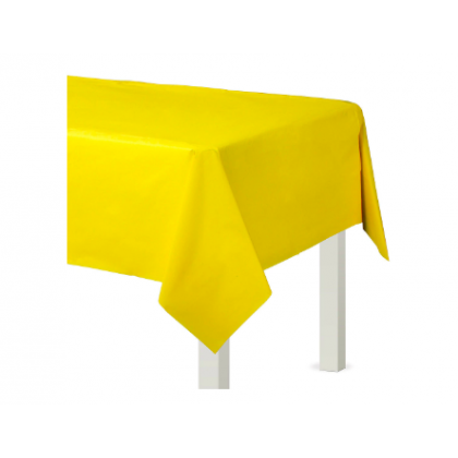 "54"" x 108"" Plastic Solid Rectangular TableCover - Yellow Sunshine"