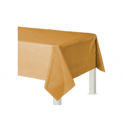 "54"" x 108"" Plastic Solid Rectangular TableCover- Gold"
