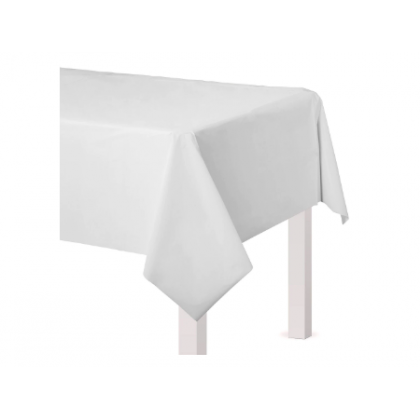 "54"" x 108"" Plastic Solid Rectangular TableCover - Frosty White"