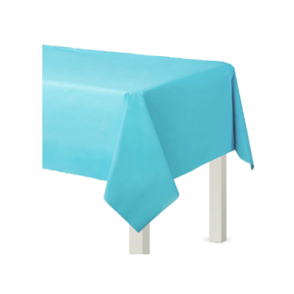 "54"" x 108"" Plastic Solid Rectangular TableCover - Caribbean Blue"