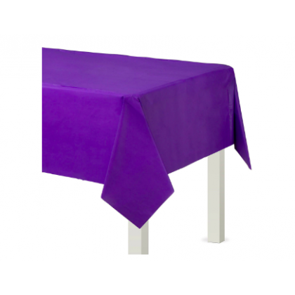 "54"" x 108"" Plastic Solid Rectangular TableCover - New Purple"