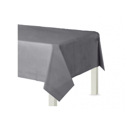 "54"" x 108"" Plastic Solid Rectangular TableCover - Silver"