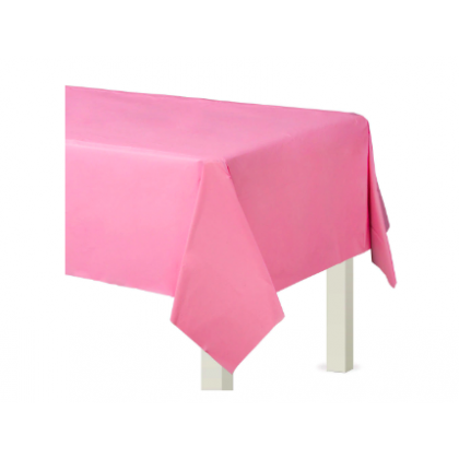 "54"" x 108"" Plastic Solid Rectangular TableCover - New Pink"