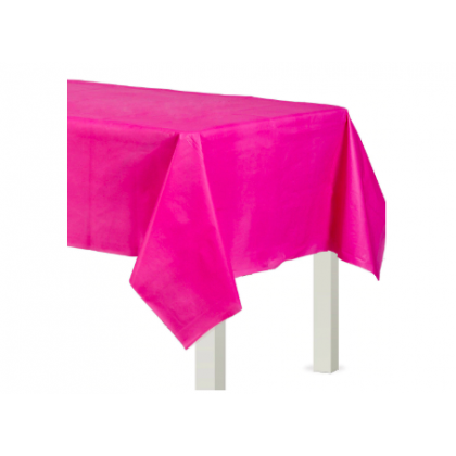 "54"" x 108"" Plastic Solid Rectangular TableCover - Bright Pink"