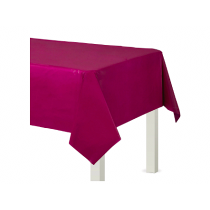 "54"" x 108"" Plastic Solid Rectangular TableCover - Berry"