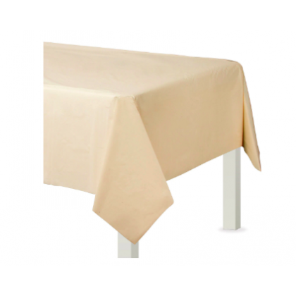 "54"" x 108"" Plastic Solid Rectangular TableCover - Vanilla Creme"