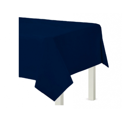"54"" x 108"" Plastic Solid Rectangular TableCover - Navy Flag Blue"
