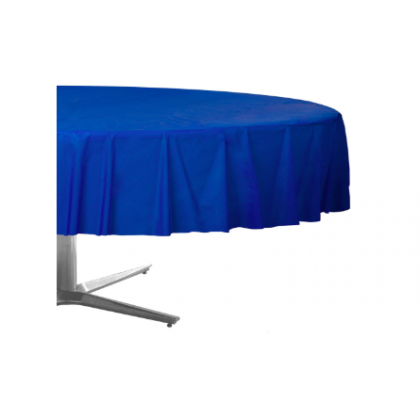 "84"" Plastic Solid Round TableCover - Bright Royal Blue"