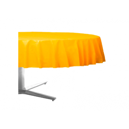 """84"""" Plastic Solid Round TableCover - Yellow Sunshine"""