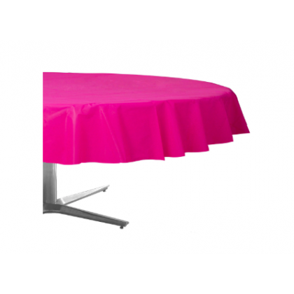 "84"" Plastic Solid Round TableCover - Bright Pink"