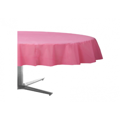 "84"" Plastic Solid Round TableCover - New Pink"
