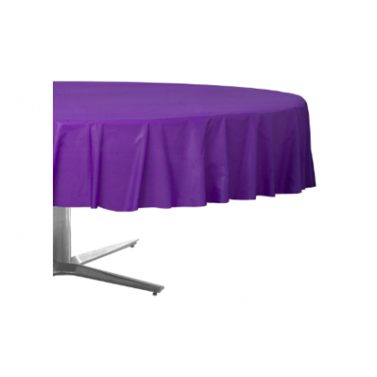 "84"" Plastic Solid Round TableCover - Purple"