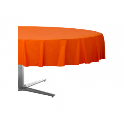 "84"" Plastic Solid Round TableCover - Orange Peel"