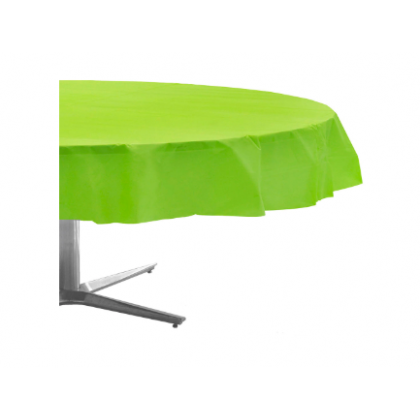 "84"" Plastic Solid Round TableCover - Kiwi"