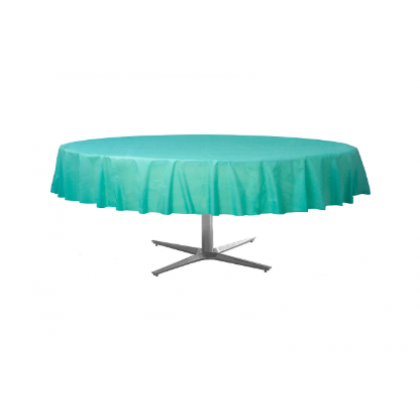 "84"" Plastic Solid Round TableCover - Robin's-egg Blue"