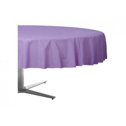 "84"" Plastic Solid Round TableCover - Lavender"