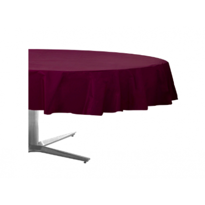 "84"" Plastic Solid Round TableCover - Berry"