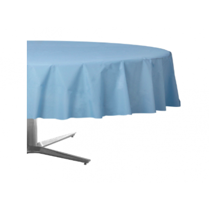 "84"" Plastic Solid Round TableCover - Pastel Blue"