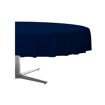 "84"" Plastic Solid Round TableCover - Navy Flag Blue"