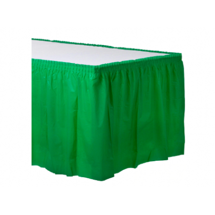 "14' x 29"" Plastic Solid Table Skirt - Festive Green"