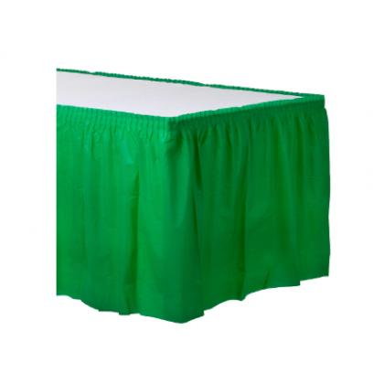 "14' x 29"" Plastic Solid Table Skirt - Festive Green"