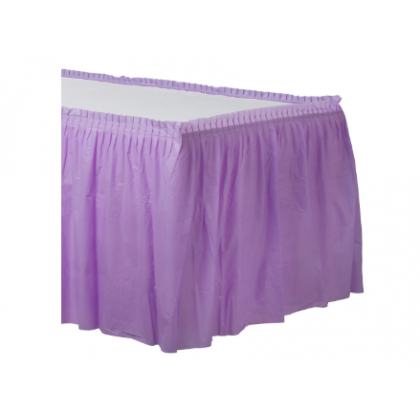 "14' x 29"" Plastic Solid Table Skirt - Lavender"