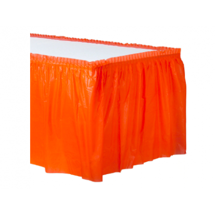 "14' x 29"" Plastic Solid Table Skirt - Orange Peel"