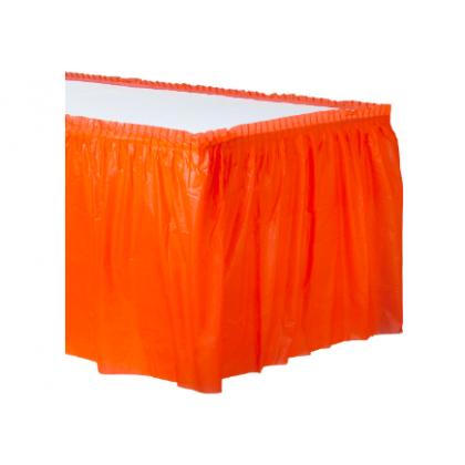 """14' x 29"""" Plastic Solid Table Skirt - Orange Peel"""