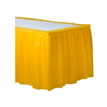 "14' x 29"" Plastic Solid Table Skirt - Yellow Sunshine"