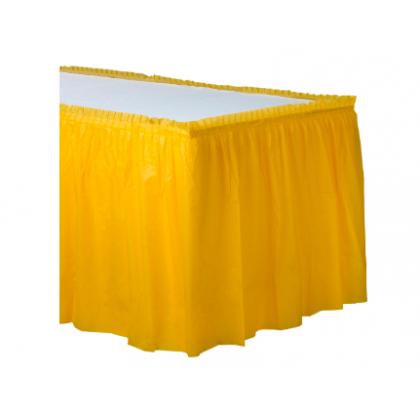 "14' x 29"" Plastic Solid Table Skirt - Yellow Sunshine"