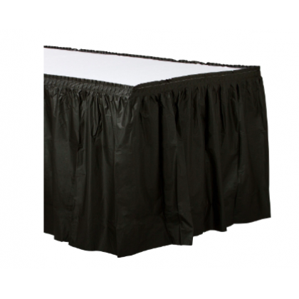 "14' x 29"" Plastic Solid Table Skirt - Jet Black"