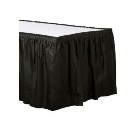 "14' x 29"" Plastic Solid Table Skirt - Jet Black"