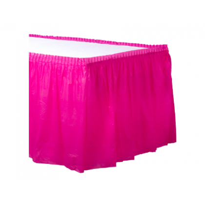 "14' x 29"" Plastic Solid Table Skirt - Bright Pink"