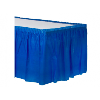 "14' x 29"" Plastic Solid Table Skirt - Bright Royal Blue"