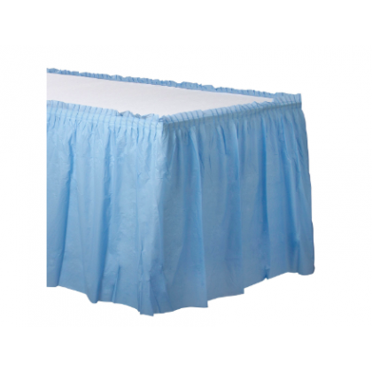 "14' x 29"" Plastic Solid Table Skirt - Pastel Blue"