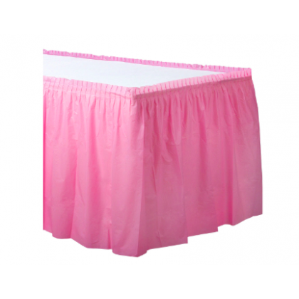 "14' x 29"" Plastic Solid Table Skirt - New Pink"