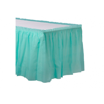 "14' x 29"" Plastic Solid Table Skirt - Robin's-egg Blue"