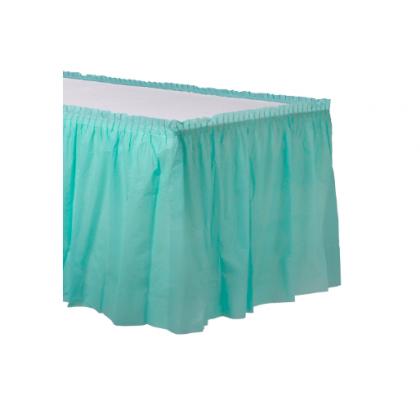 """14' x 29"""" Plastic Solid Table Skirt - Robin's-egg Blue"""