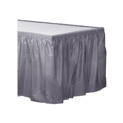 "14' x 29"" Plastic Solid Table Skirt - Silver"