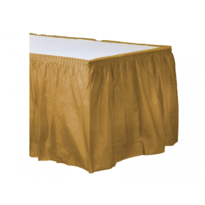"14' x 29"" Plastic Solid Table Skirt - Gold"