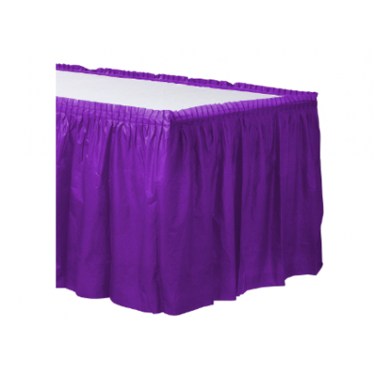"14' x 29"" Plastic Solid Table Skirt - Purple"